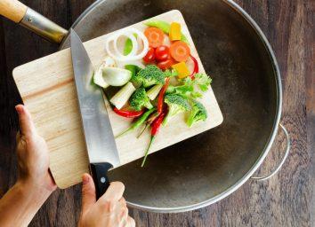 Vegetables into saute pan