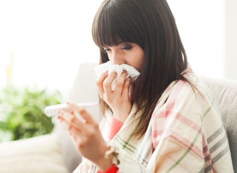 sick woman temperature