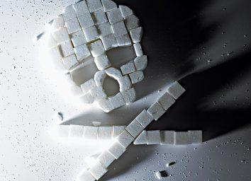 Skull and crossbones made of sugar cubes