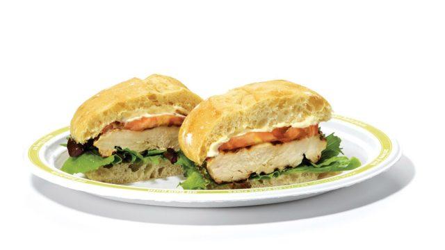 Au Bon Pain chicken sandwich on plate