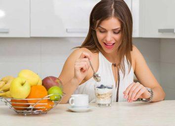 Woman eating parfait