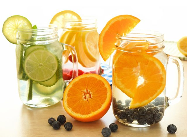 Detox water with lime oranges and lemon