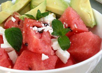 Watermelon and avocado salad