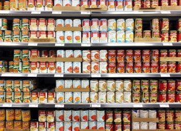 Canned soup on supermarket shelves
