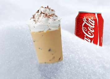 Iced coffee with whipped cream Coke can