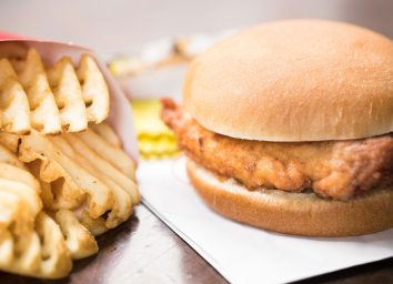 Chick fil a fried chicken sandwich waffle fries