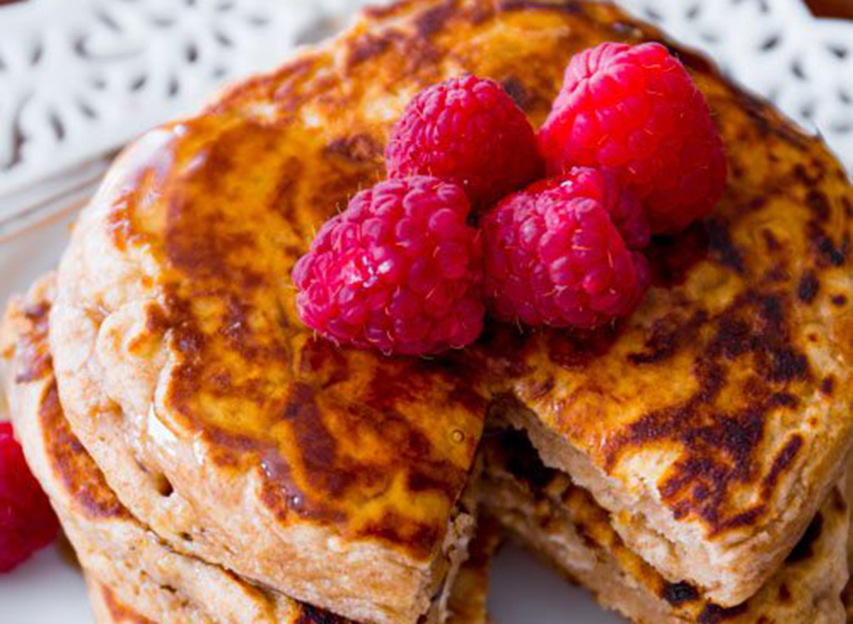 whole wheat pancakes with raspberries