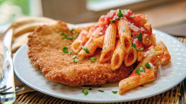 fried chicken with pasta dinner