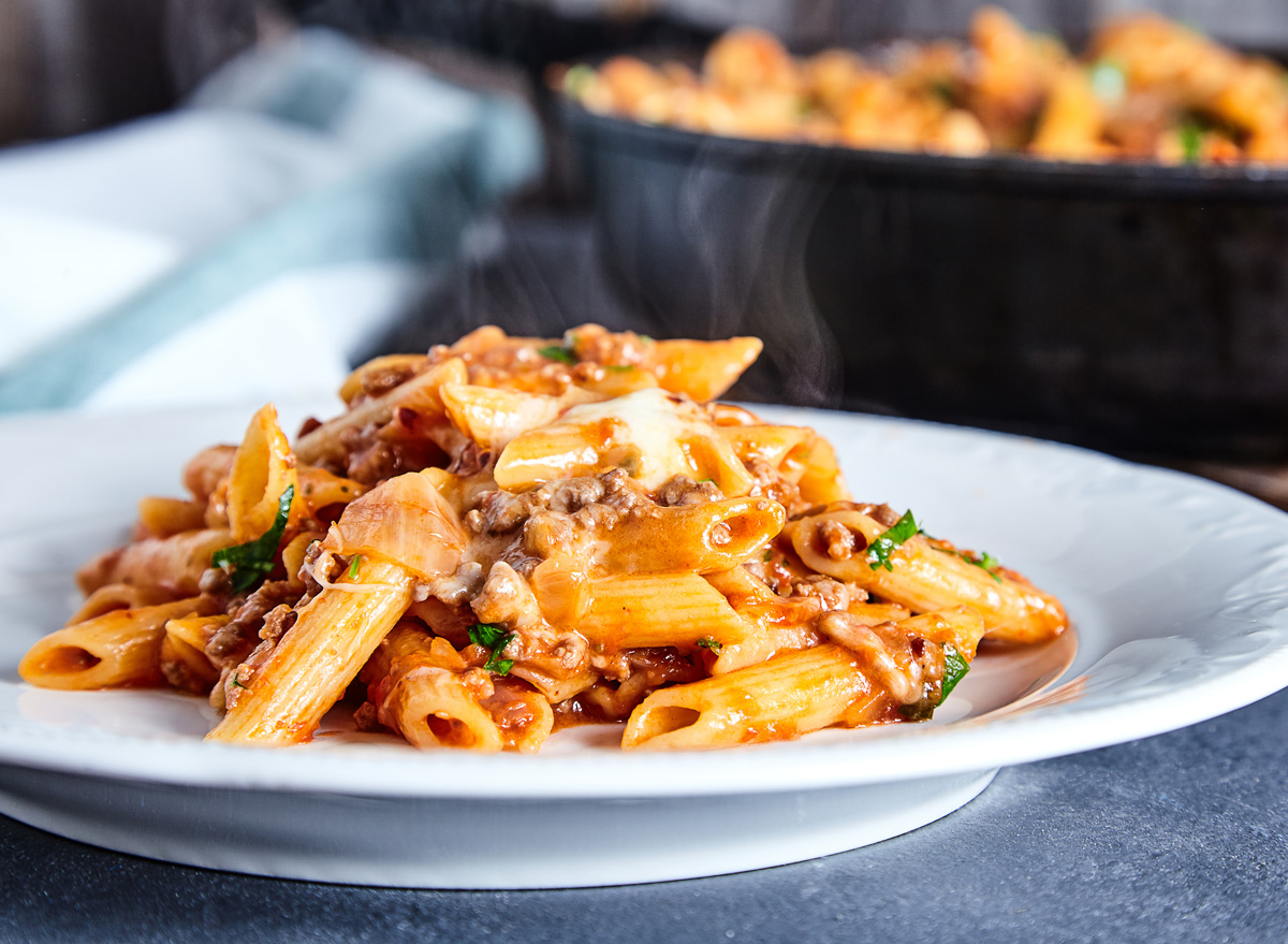 Red meat sauce beef penne pasta