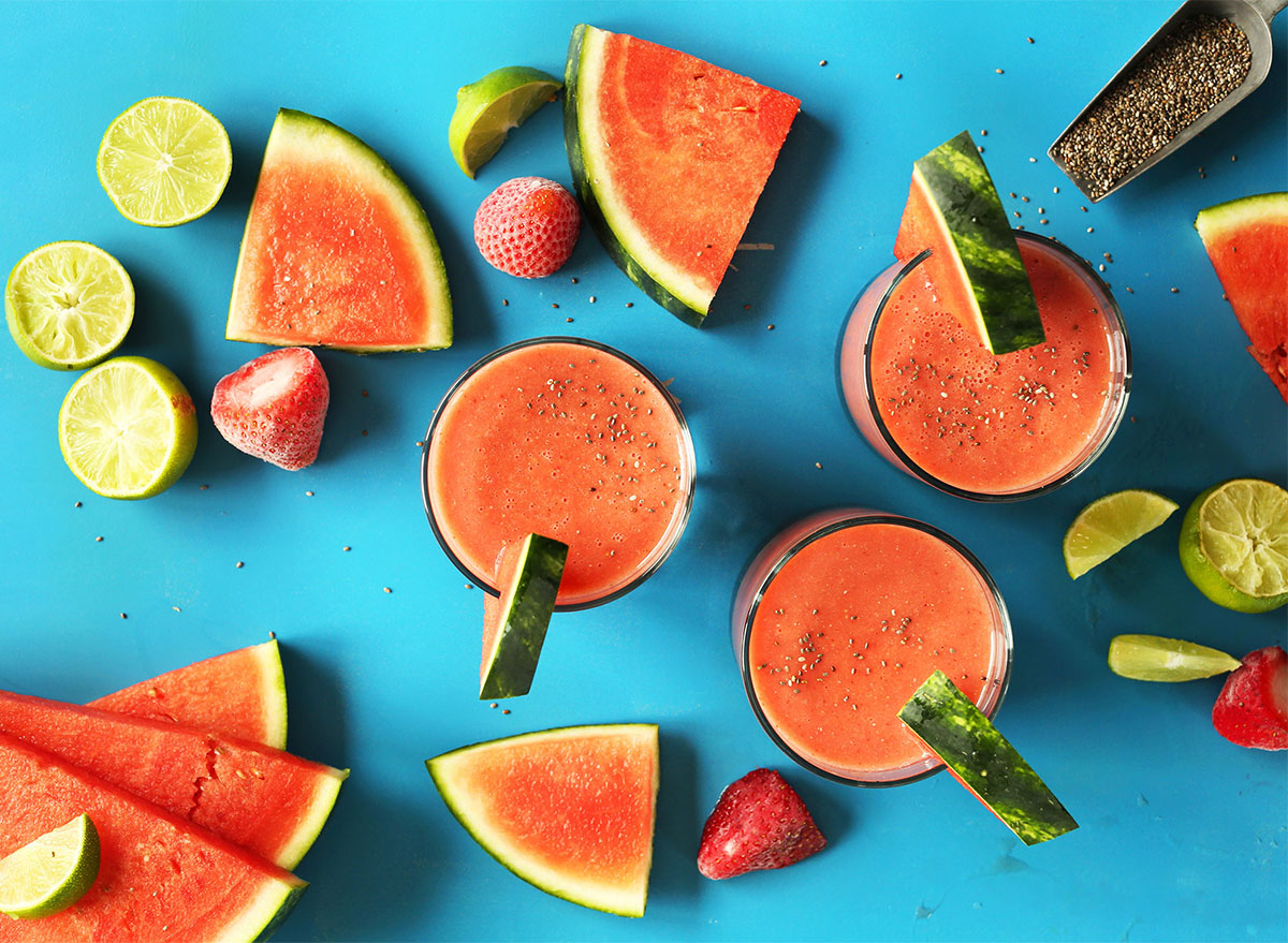 strawberry watermelon chia smoothie glasses