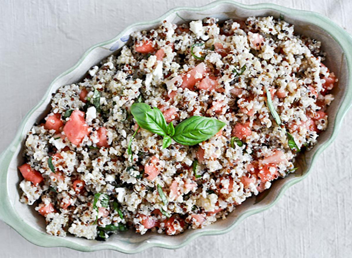 watermelon feta basil quinoa in serving dish