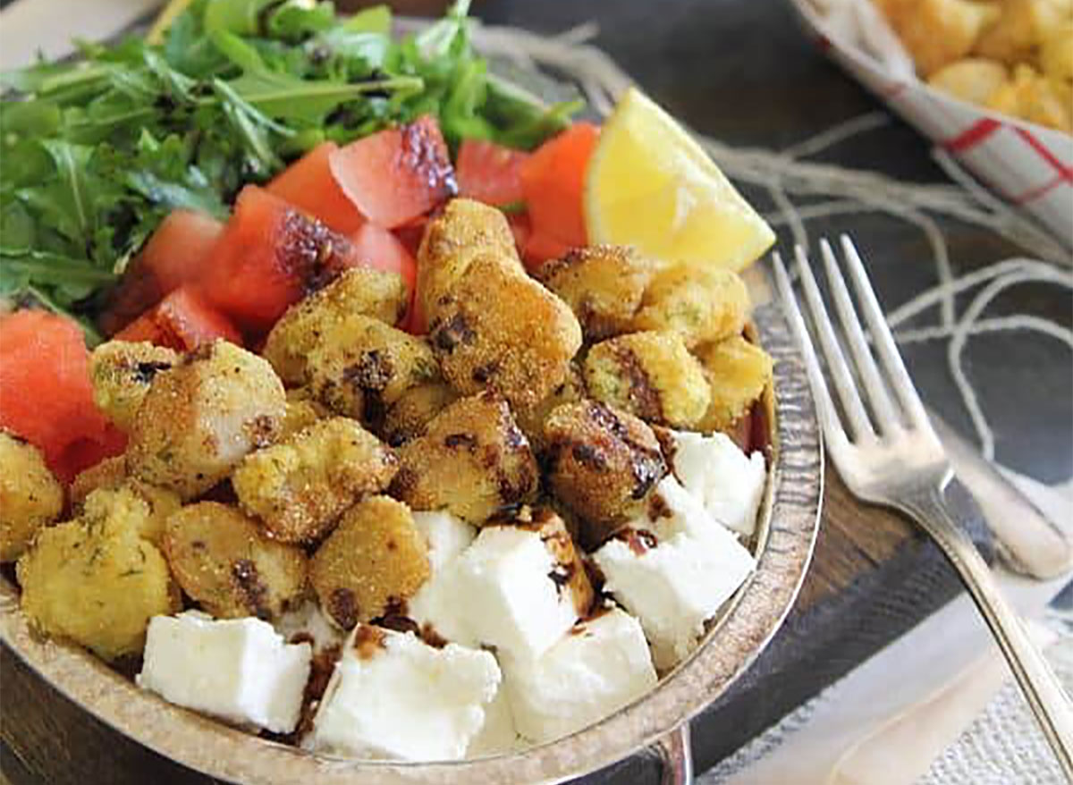 salad with watermelon feta and scallops