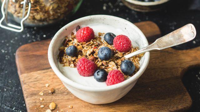 Bowl of yogurt granola berries