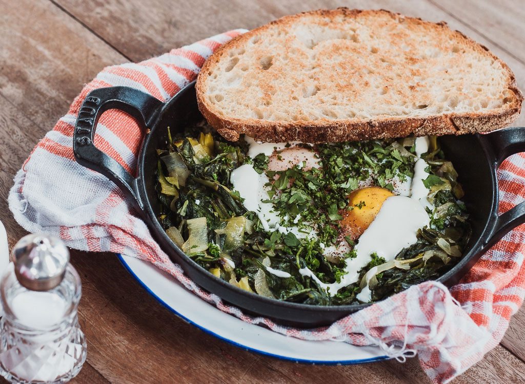 Eggs with spinach greens