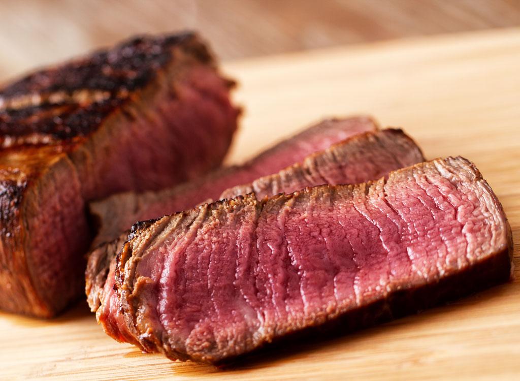 Beef tenderloin sliced