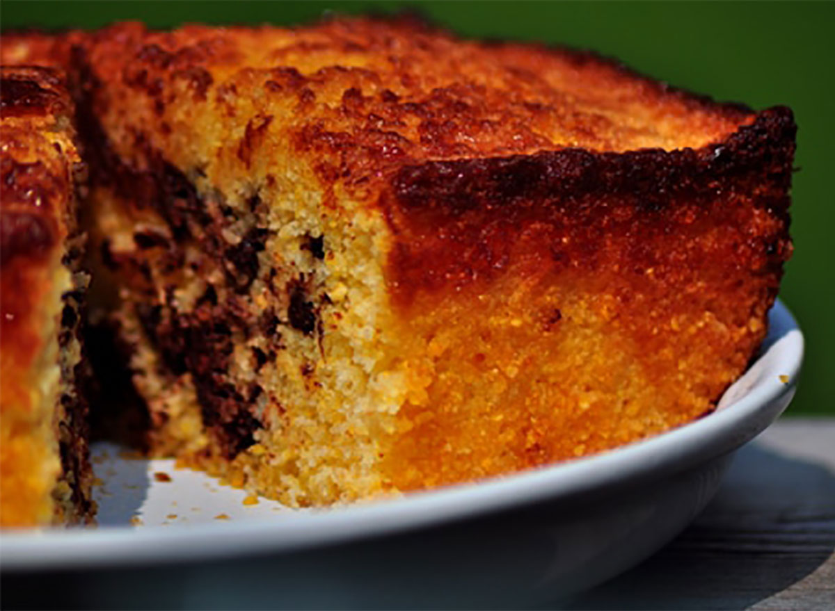 tray of cornbread with chocolate