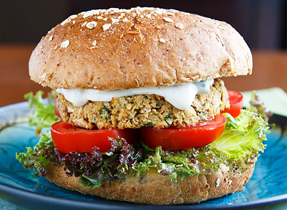 chickpea burger on a plate