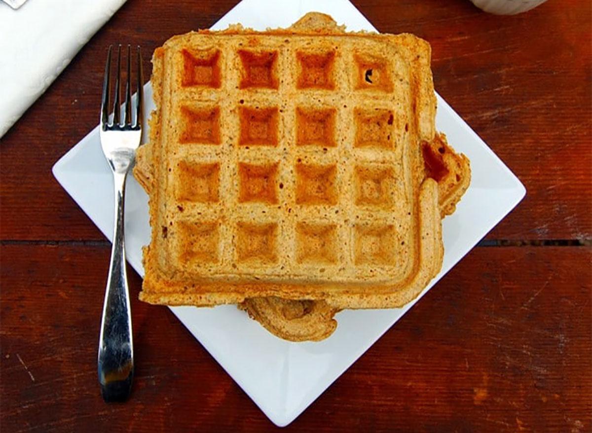 vegan chia waffle on a plate