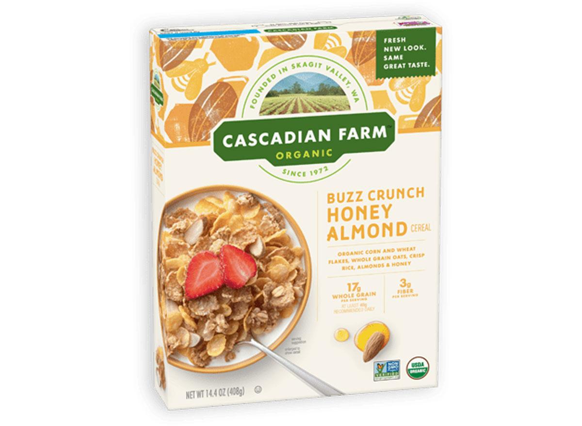 Cascadian farm organic buzz crunch honey almond cereal