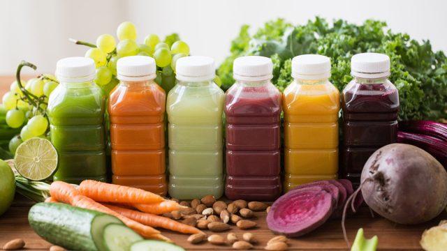 Juice cleanse plastic bottles