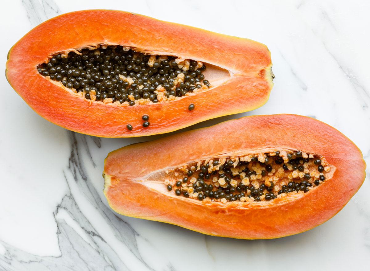 Fresh cut papaya
