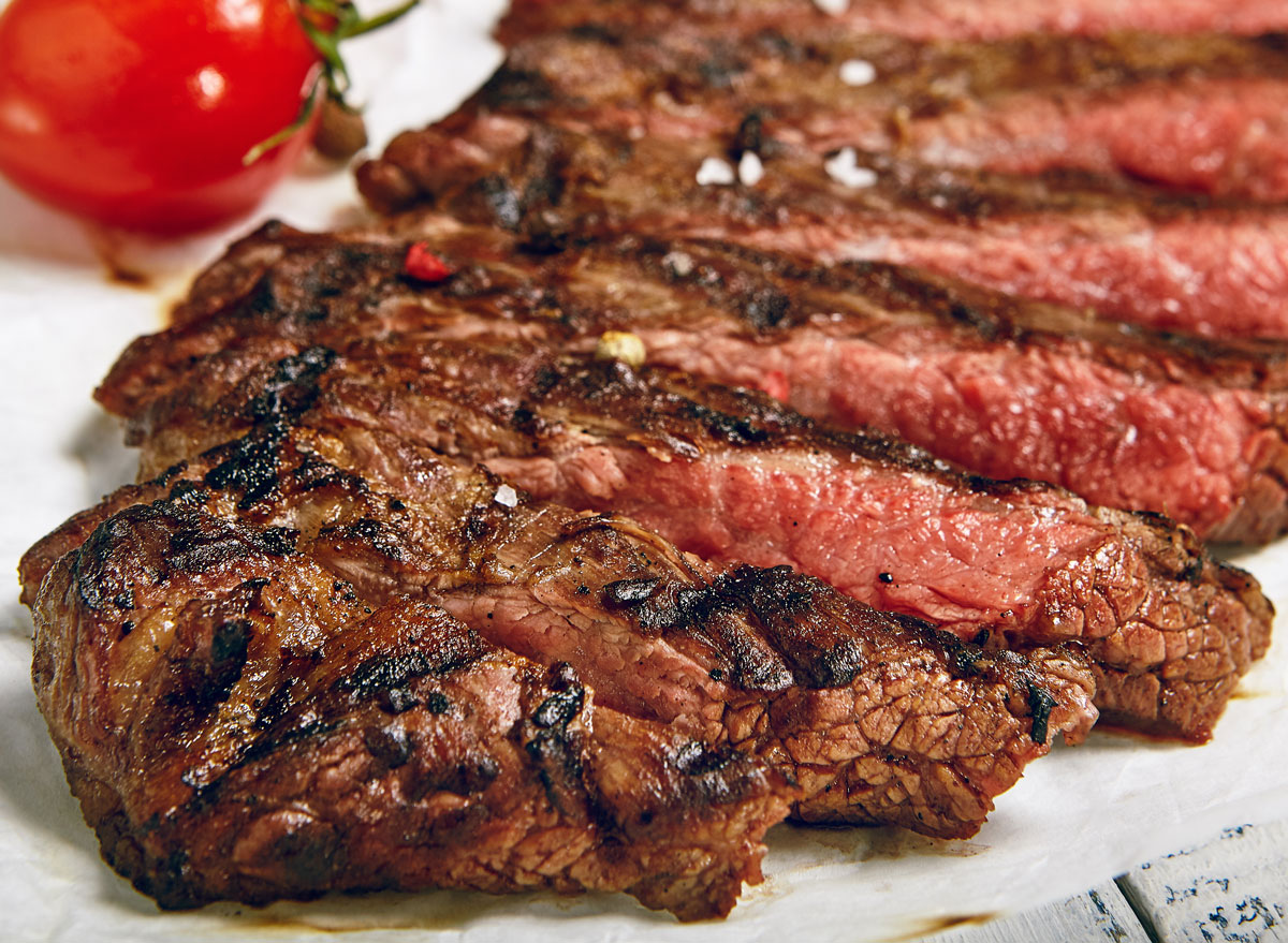 Grilled grass fed beef flank steak