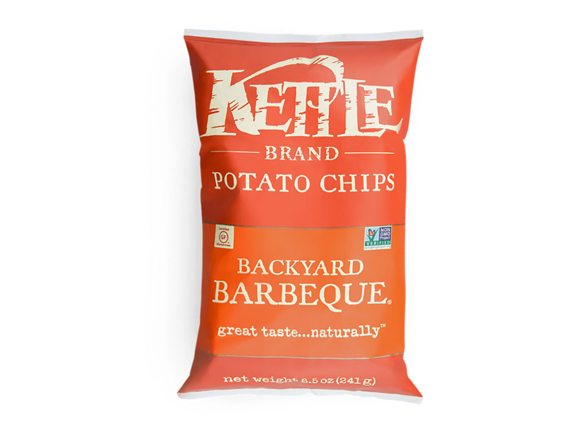 bag of organic kettle chips bbq flavor