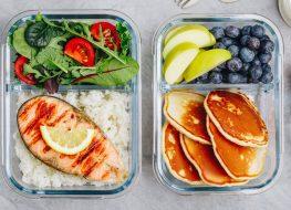 Meal prep breakfast lunch dinner salmon salad pancakes fruit