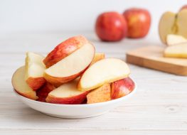 fresh red apple slices
