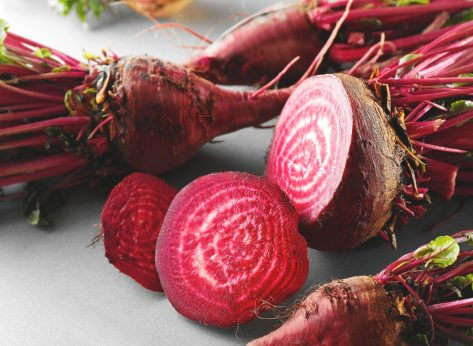 Sliced red raw beets