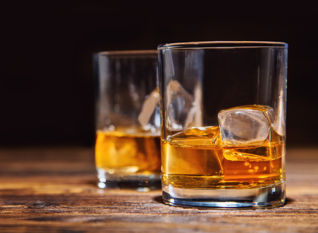 Whiskey alcohol on the rocks