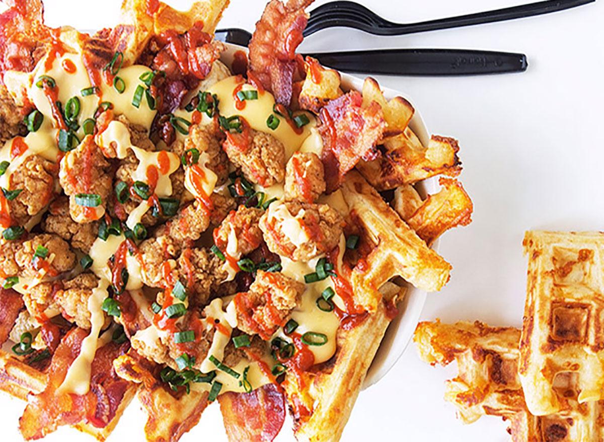 chicken and waffle nachos