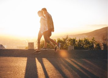 Couple on an early morning walk