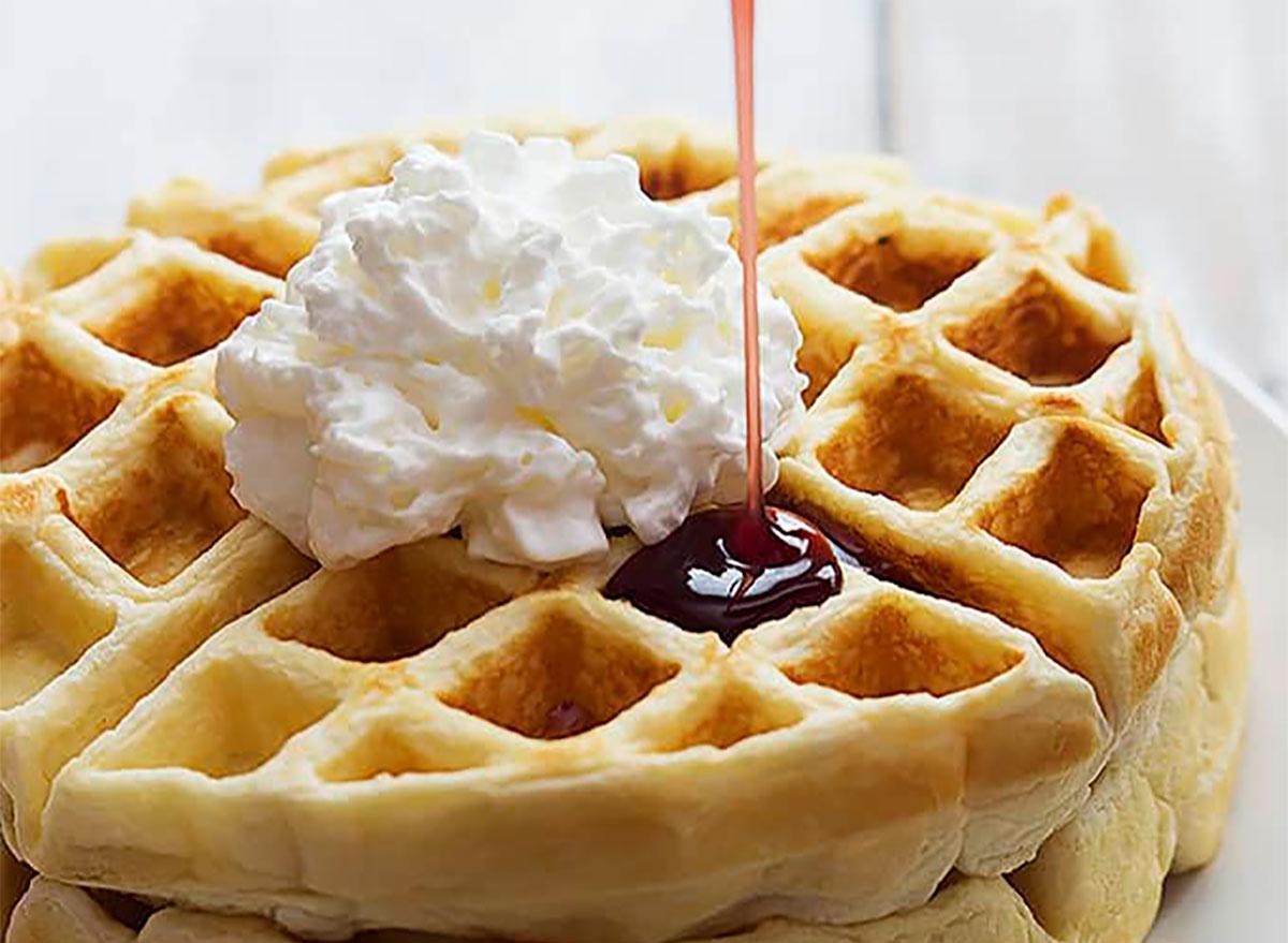 greek yogurt waffles with whipped cream