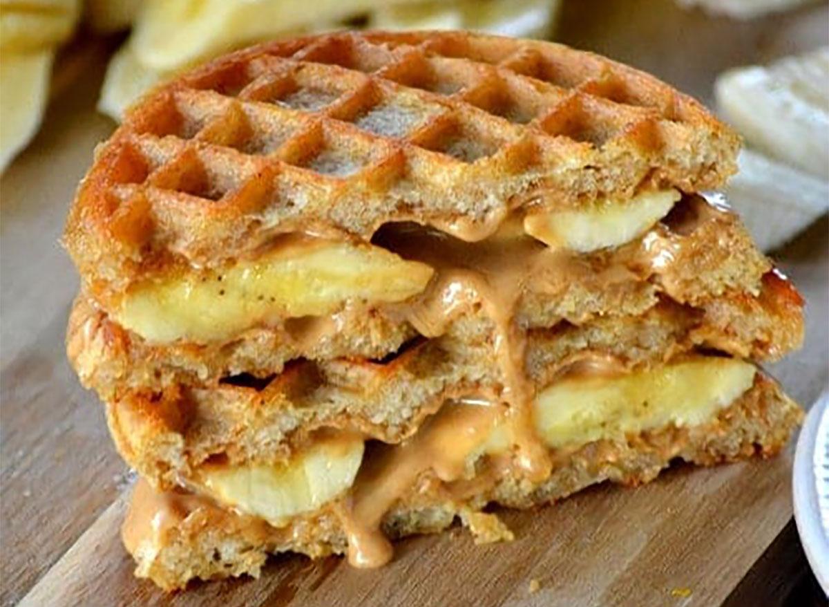 peanut butter waffle sandwiches