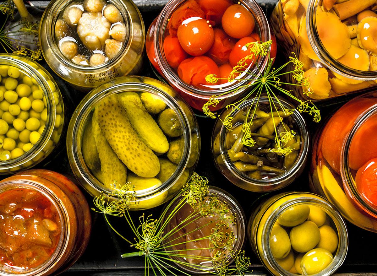 jars of pickled vegetables