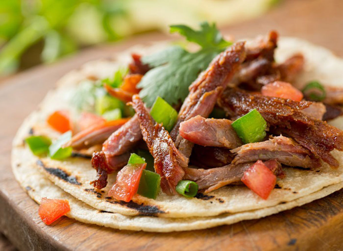Pulled pork tacos with cilantro