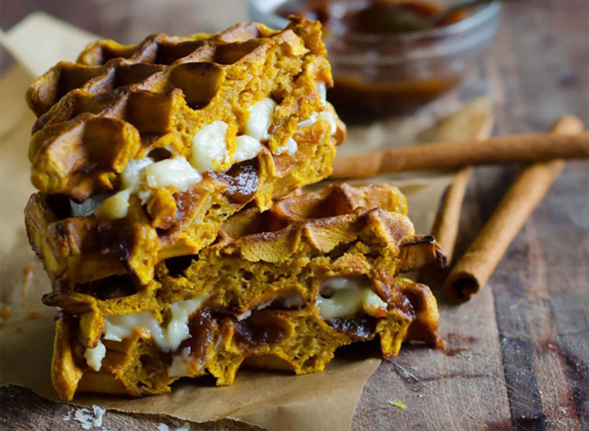 pumpkin waffle sandwiches