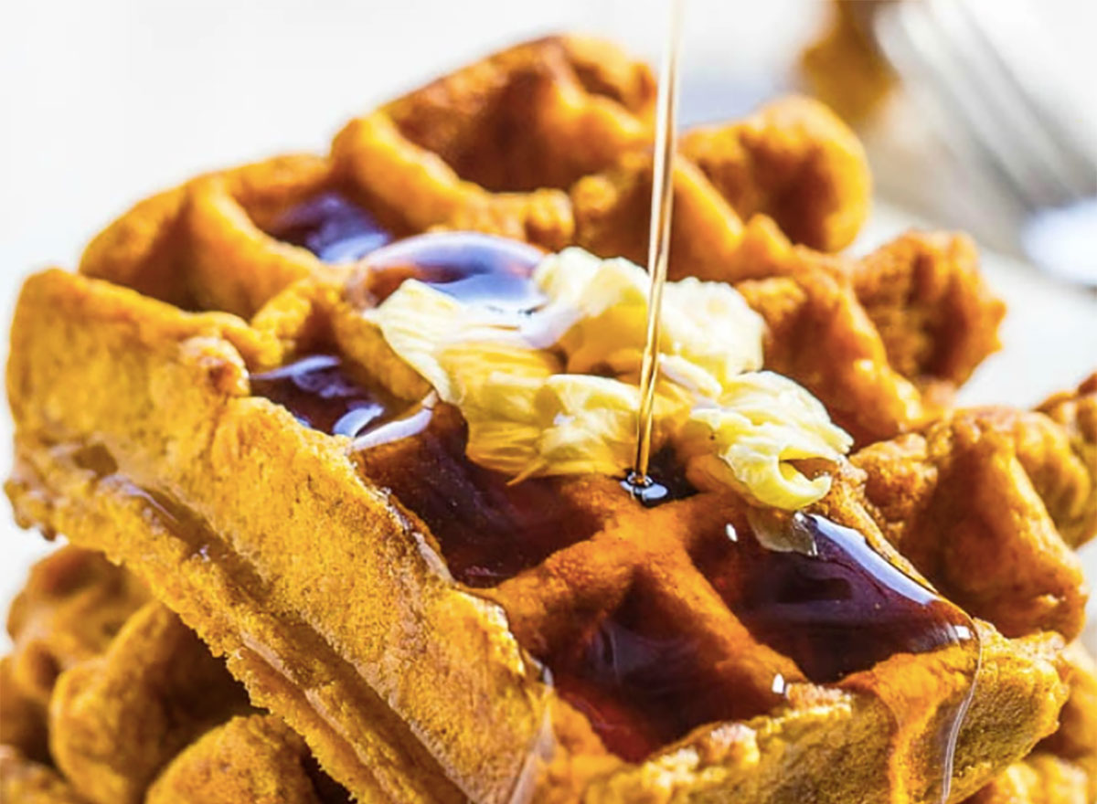 pumpkin waffles with butter and syrup