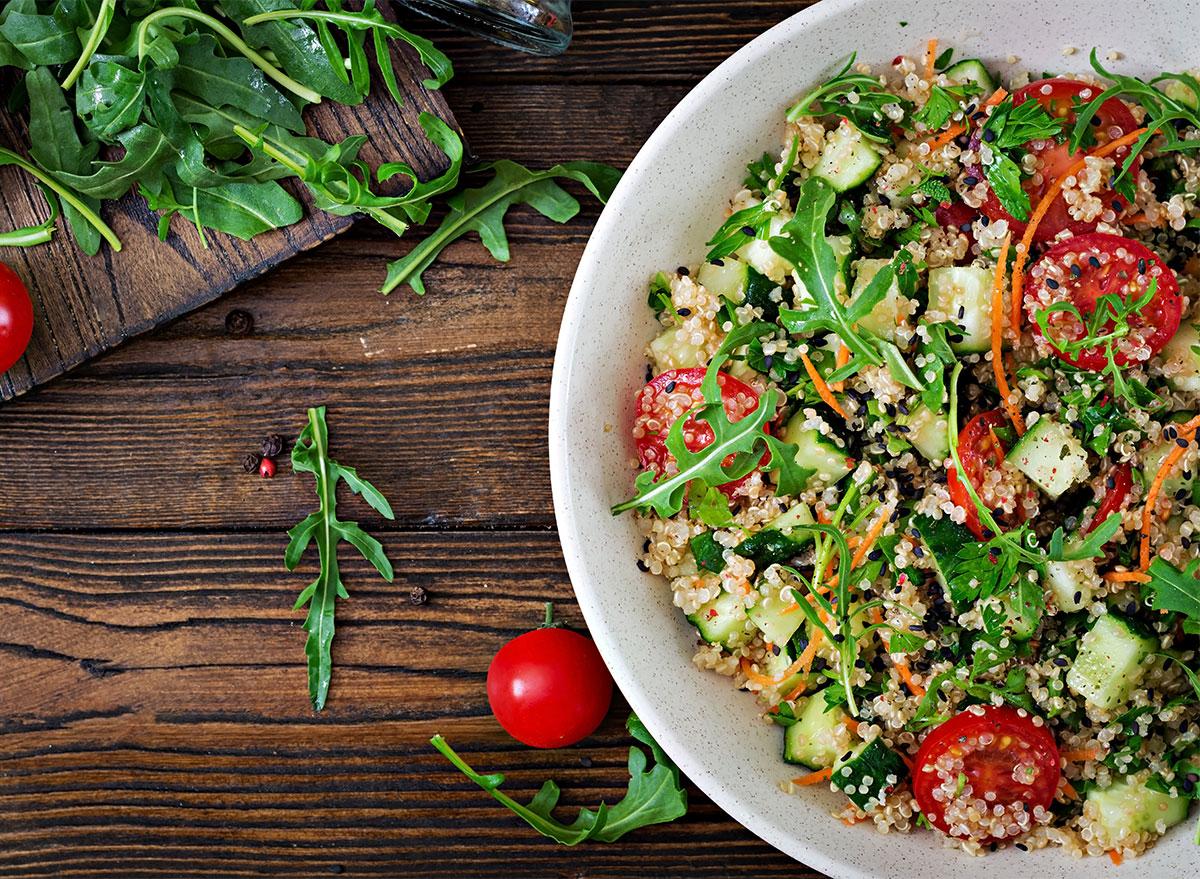quinoa and arugula salad bowl