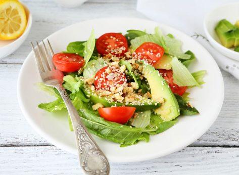 Salad seeds nuts avocado tomato