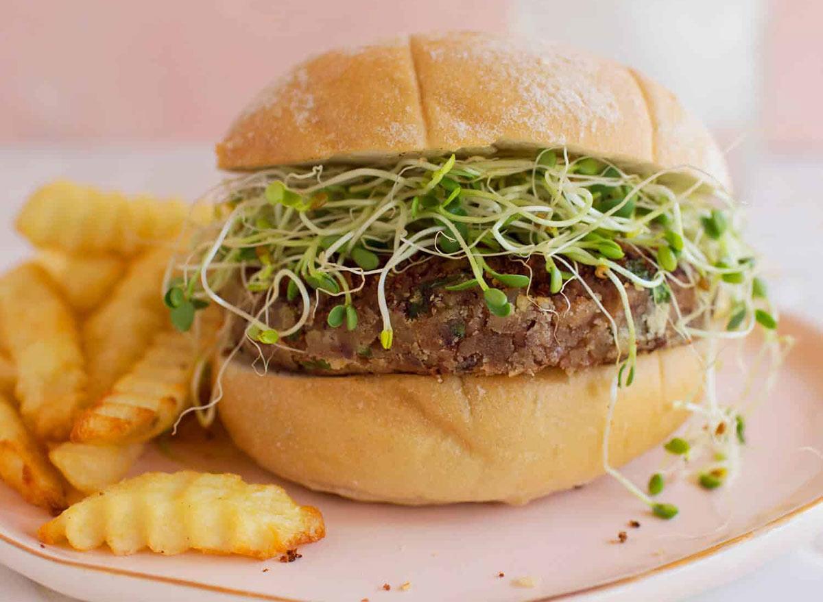 Veggie burger with protein powder.