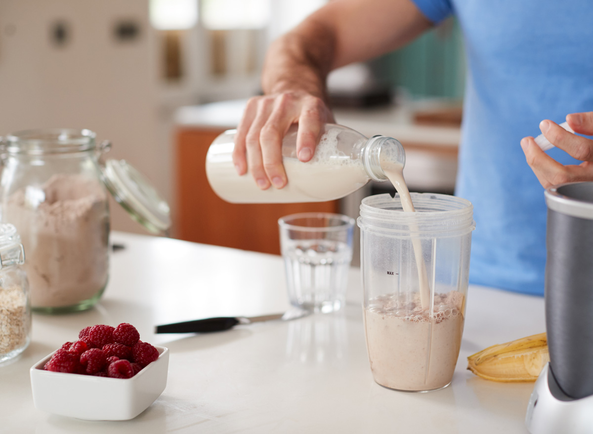 Make a protein shake smoothie with hand held blender