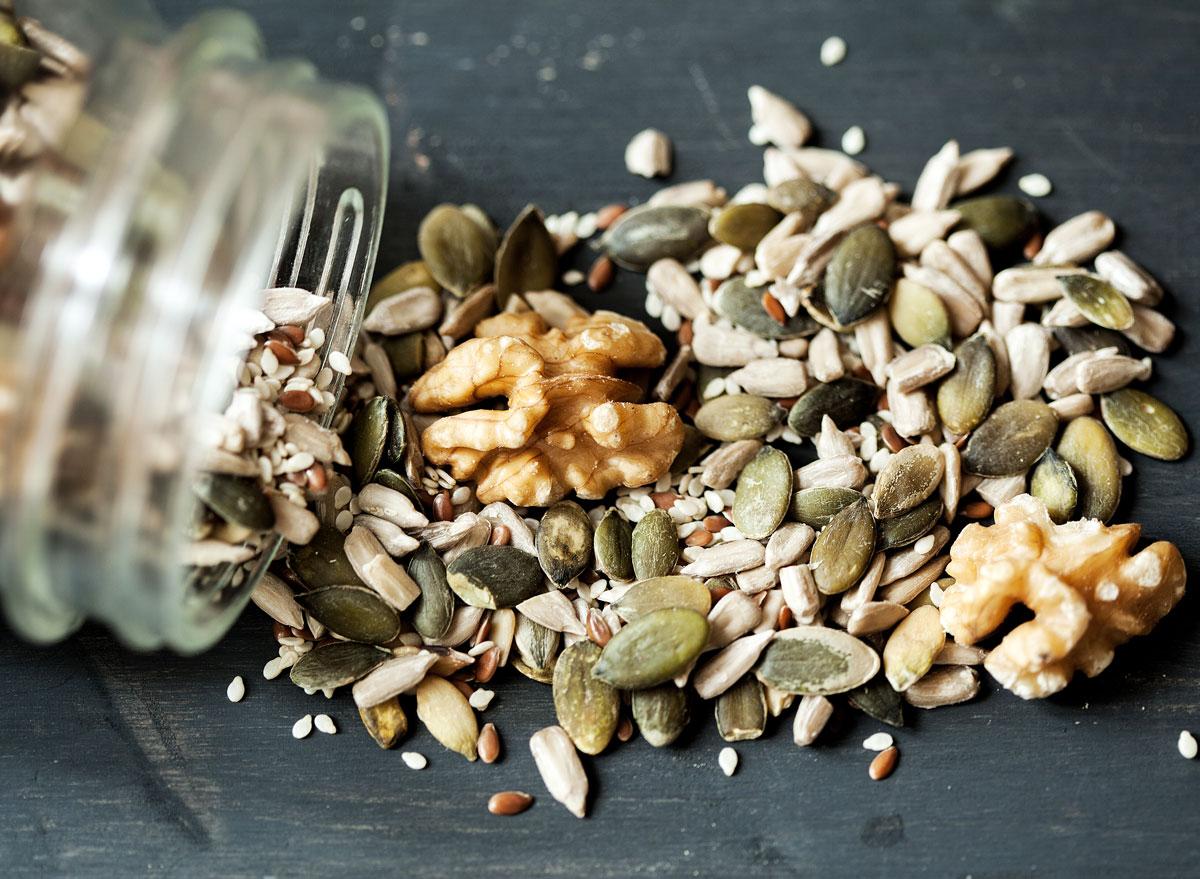 Walnuts sunflower flax sesame pumpkin seeds