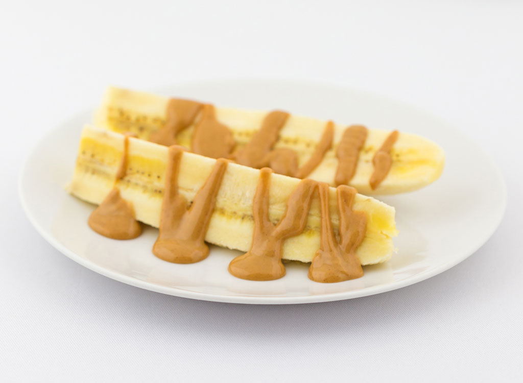 Banana with peanut butter drizzle