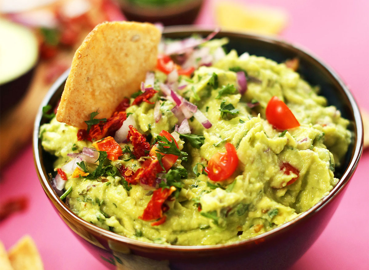 greek guacamole with chip