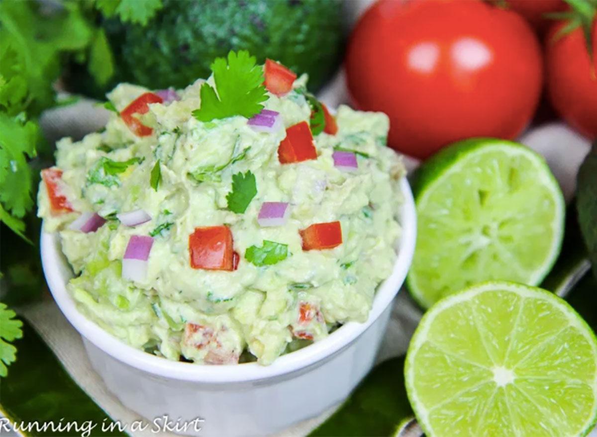 guacamole made with greek yogurt in dipping bowl
