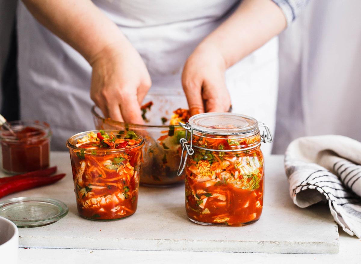 Kimchi being prepared