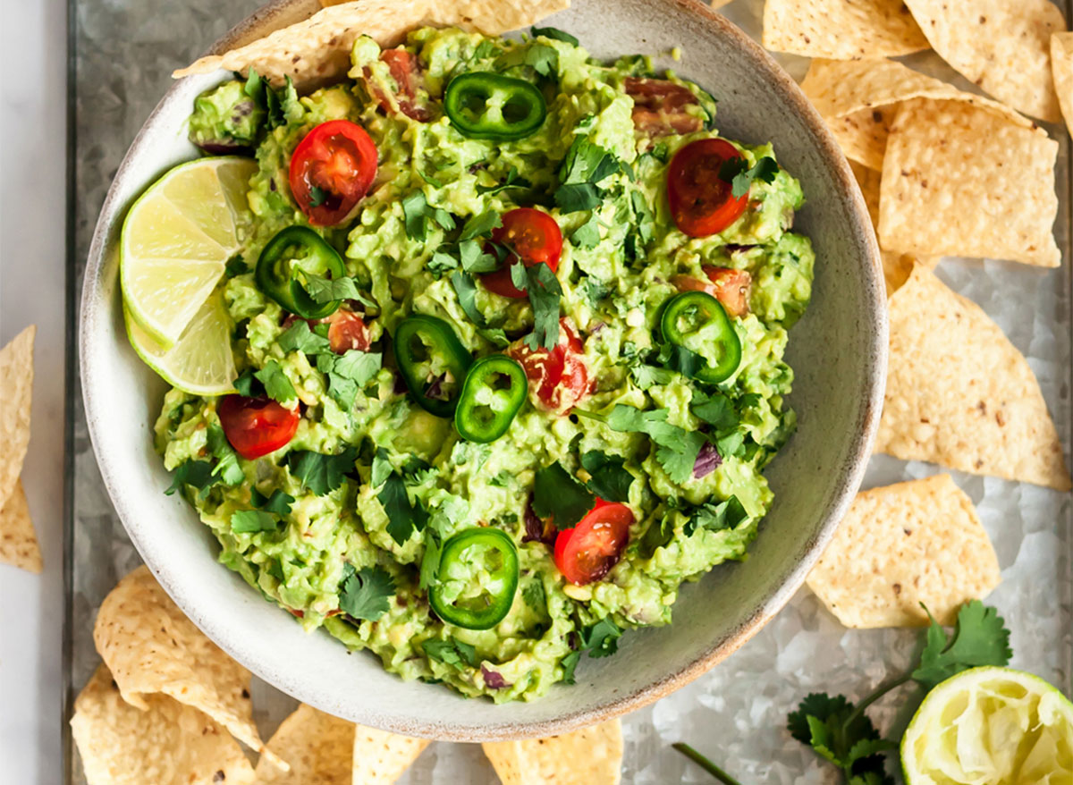 spicy guacamole with chips