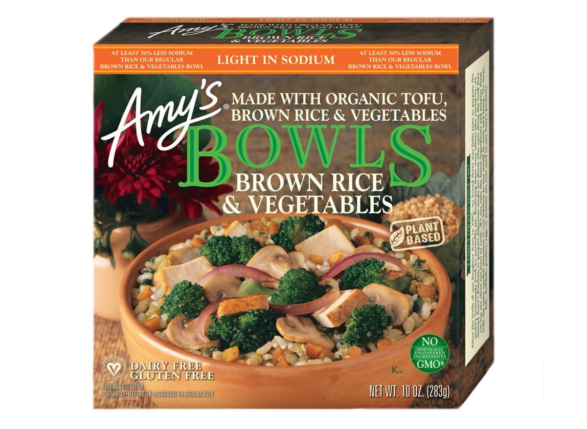 Amys brown rice vegetables frozen dinner